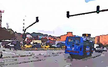 Bus en avenida, parte trasera, foto efecto cómic