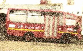 Bus ruta especial, foto efecto lápiz