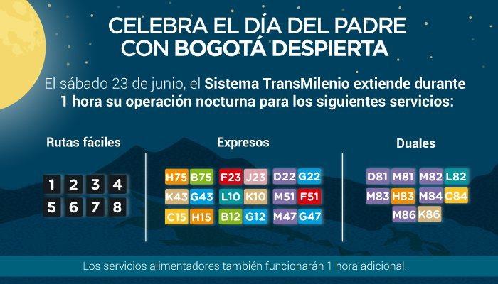 Volante Día del Padre - rutas en Bogotá ampliadas