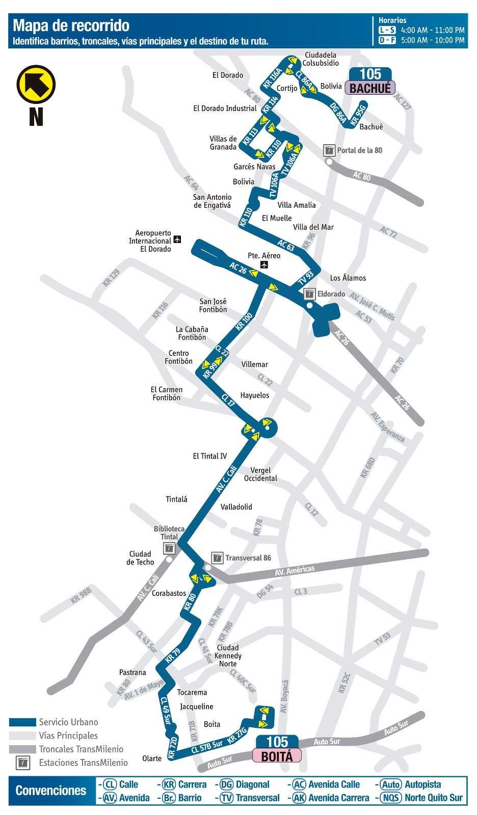 Ruta SITP: 105 Boitá ↔ Bachué (mapa)