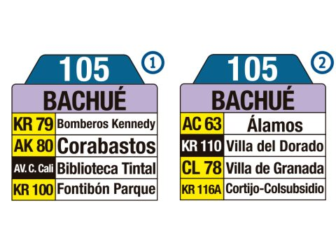 Ruta SITP: 105 Boitá ↔ Bachué (tablas)