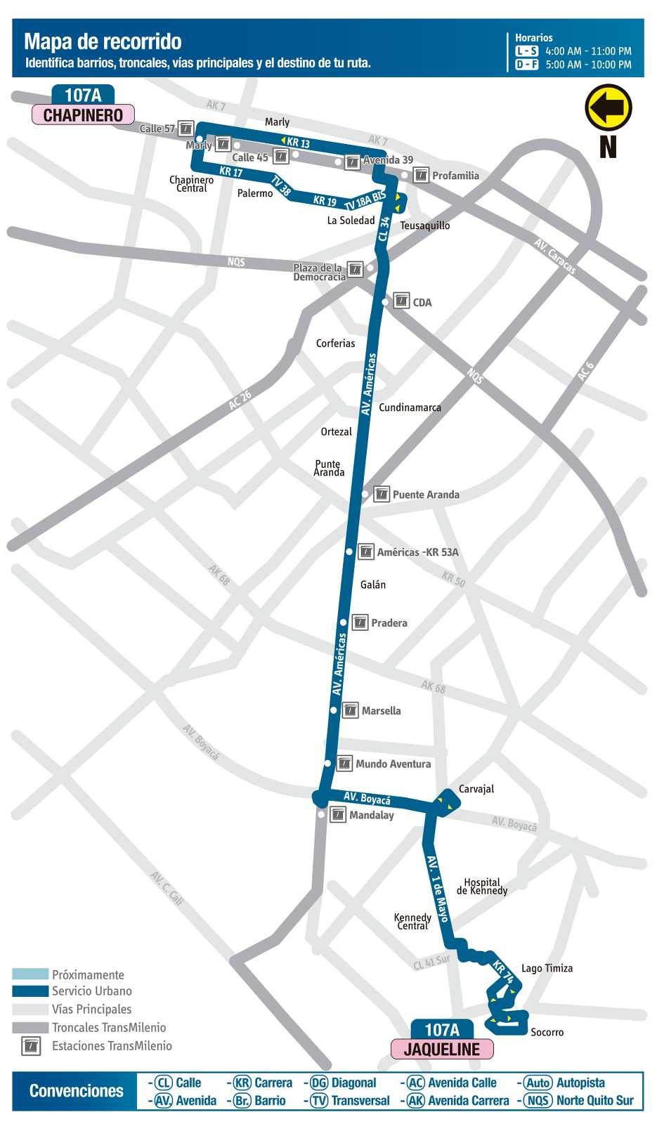 Ruta SITP: 107A Jaqueline ↔ Chapinero (mapa)