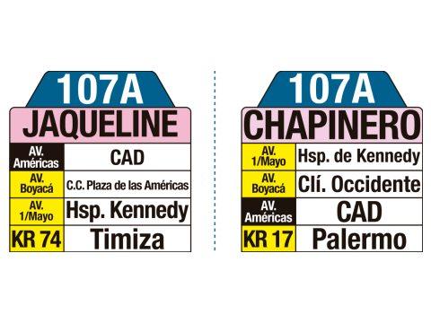 Ruta SITP: 107A Jaqueline ↔ Chapinero (tablas)