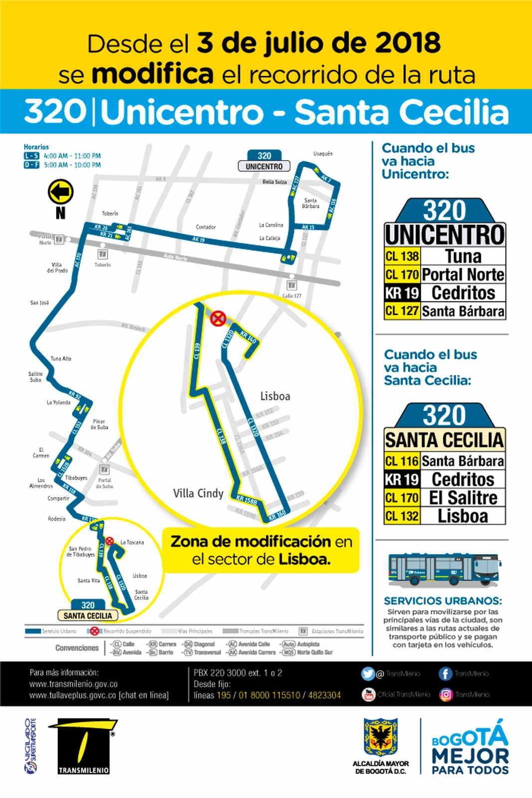 Mapa de la ruta urbana Urbana 320 Unicentro - Santa Cecilia desde el 3 de julio de 2018