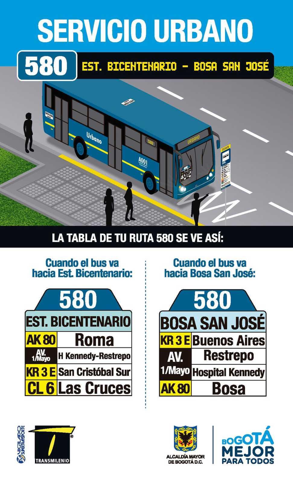 580 > Estación Bicentenario - Bosa San José (volante cara A)