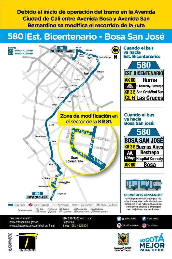 580 > Estación Bicentenario - Bosa San José (volante cara B)