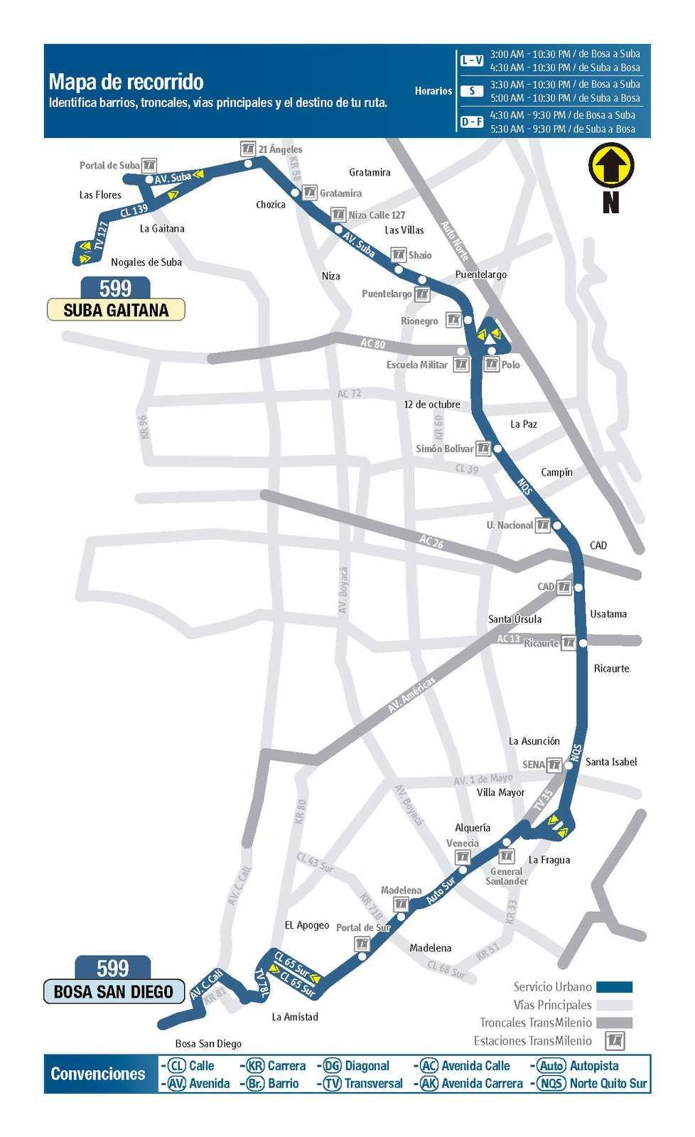 599 > Suba Gaitana - Bosa San Diego (mapa)