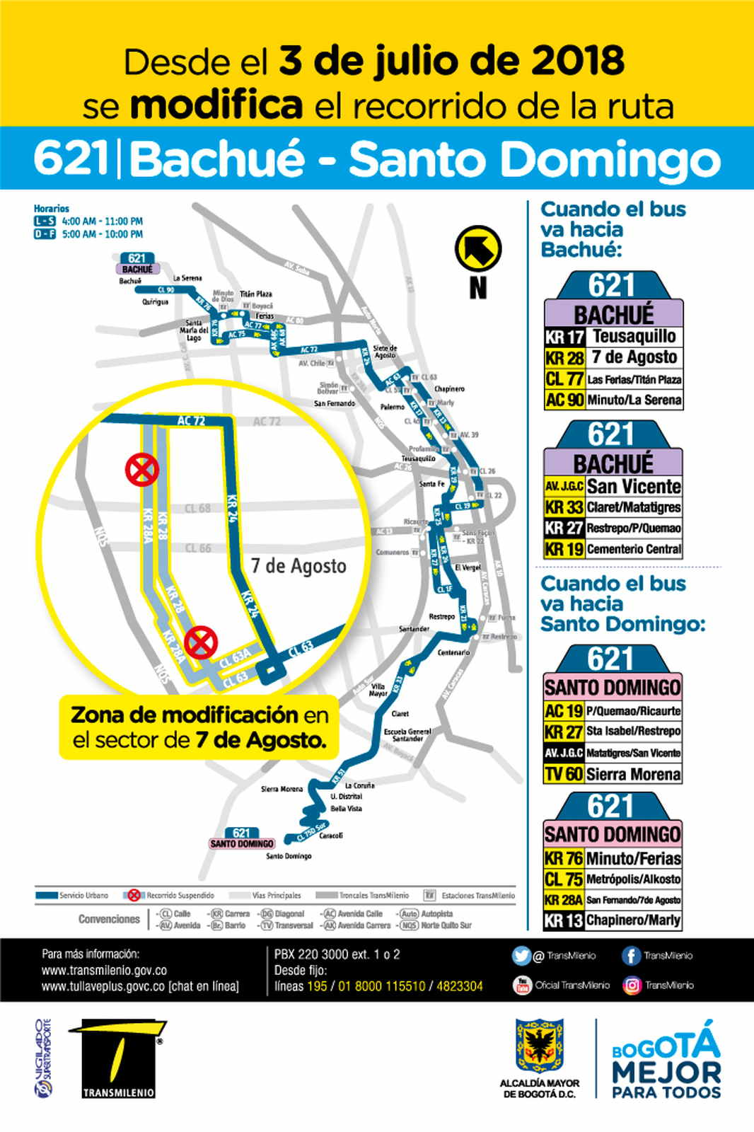 Mapa ruta urbana 621 Bachué - Santo Domingo - desde 3 julio de 2018