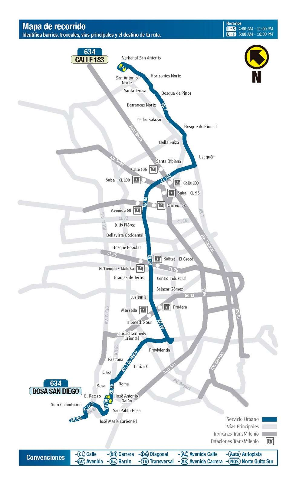 634 > Calle 183 - Bosa San Diego (mapa de la ruta)