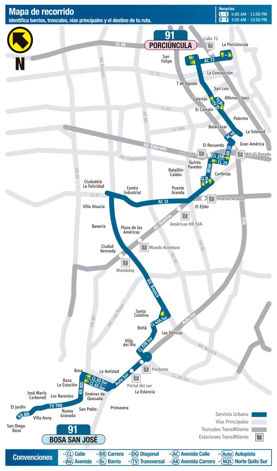 Ruta SITP: 91 Bosa, San José ↔ Porciúncula (mapa)