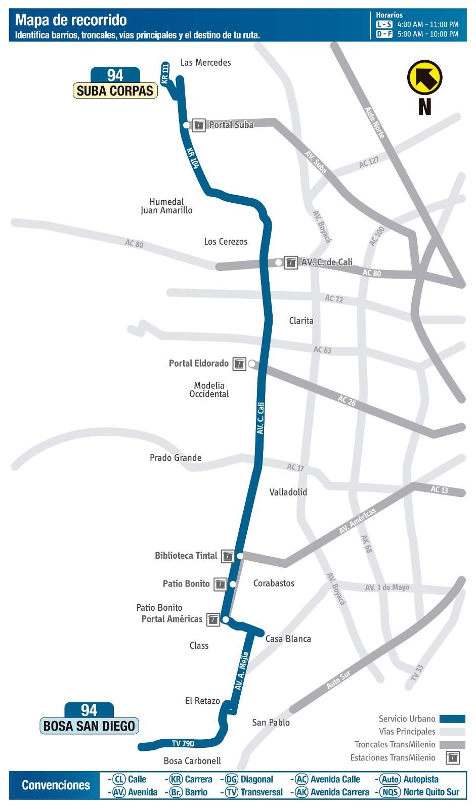Ruta SITP: 94 Bosa San Diego - Suba Corpas (mapa)