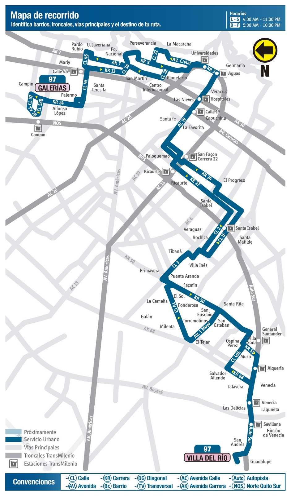 Ruta SITP: 97 Villa del Río ↔ Galerías (mapa)