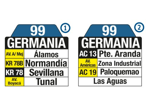 Ruta SITP: 99 Bosa, La Primavera ↔ Germania (tablas)