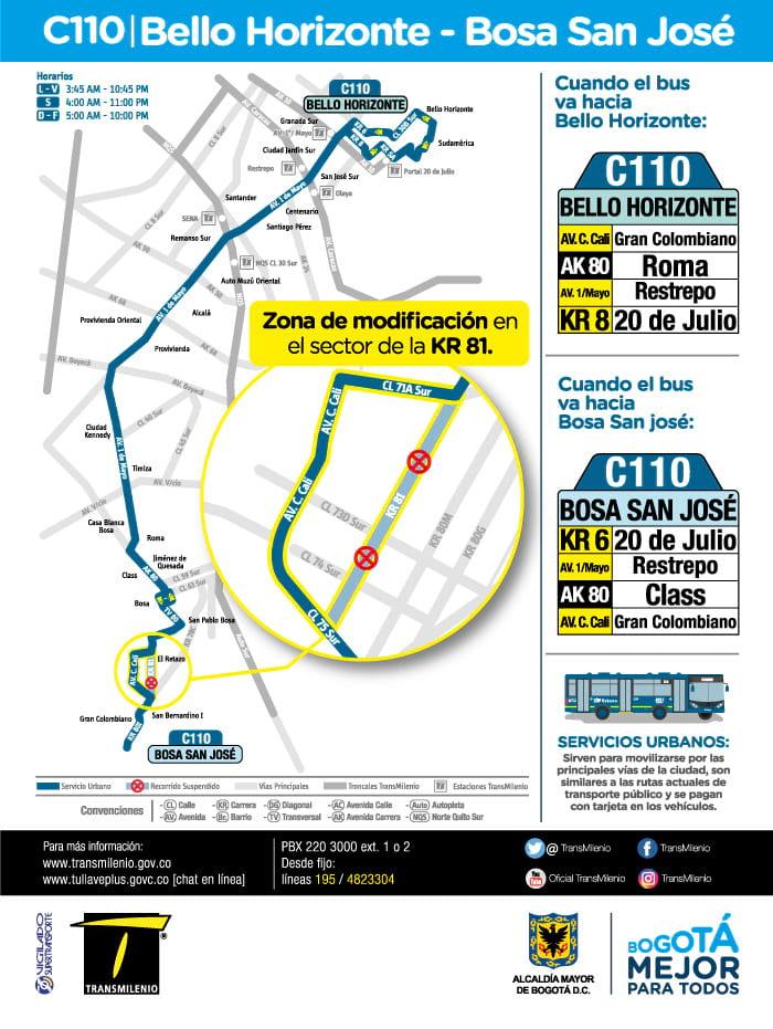 Urbana C110 > Bello Horizonte - Bosa San José (volante)