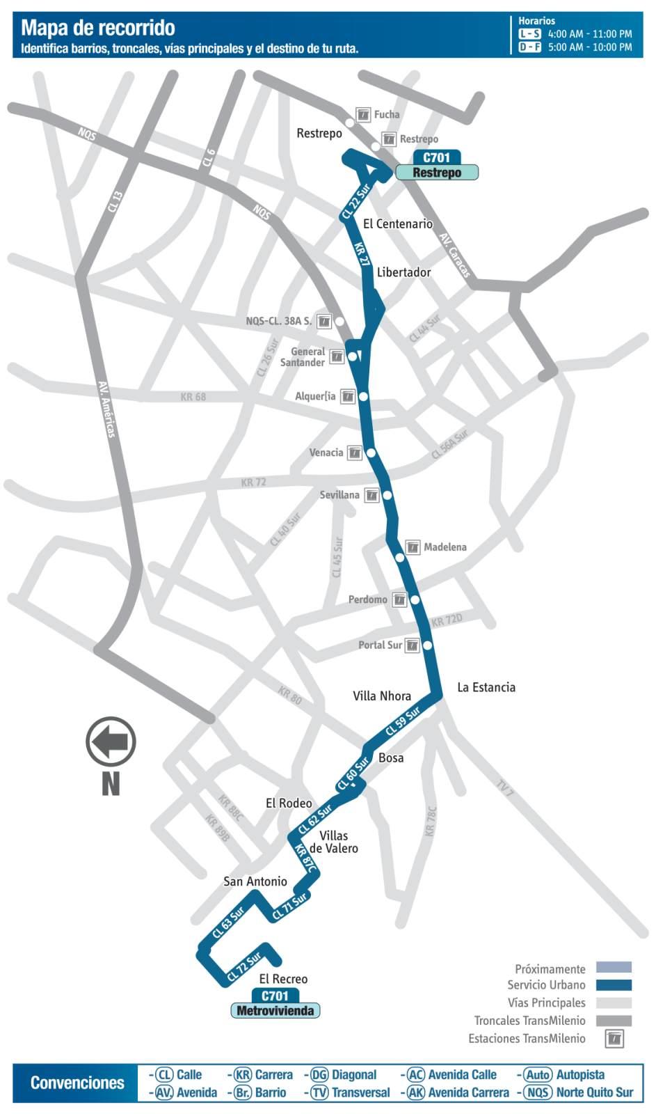 Ruta SITP: C701 Metrovivienda ↔ Restrepo (mapa)