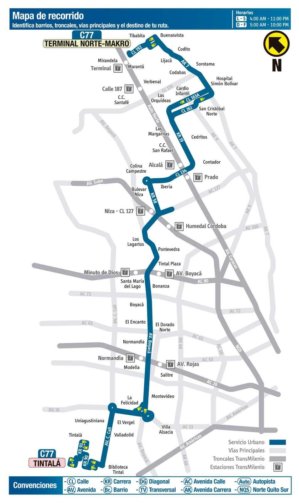 Ruta SITP: C77 > Terminal Norte (Makro) ↔ Tintalá (mapa)