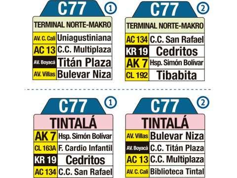 Ruta SITP: C77 > Terminal Norte (Makro) ↔ Tintalá (tablas)