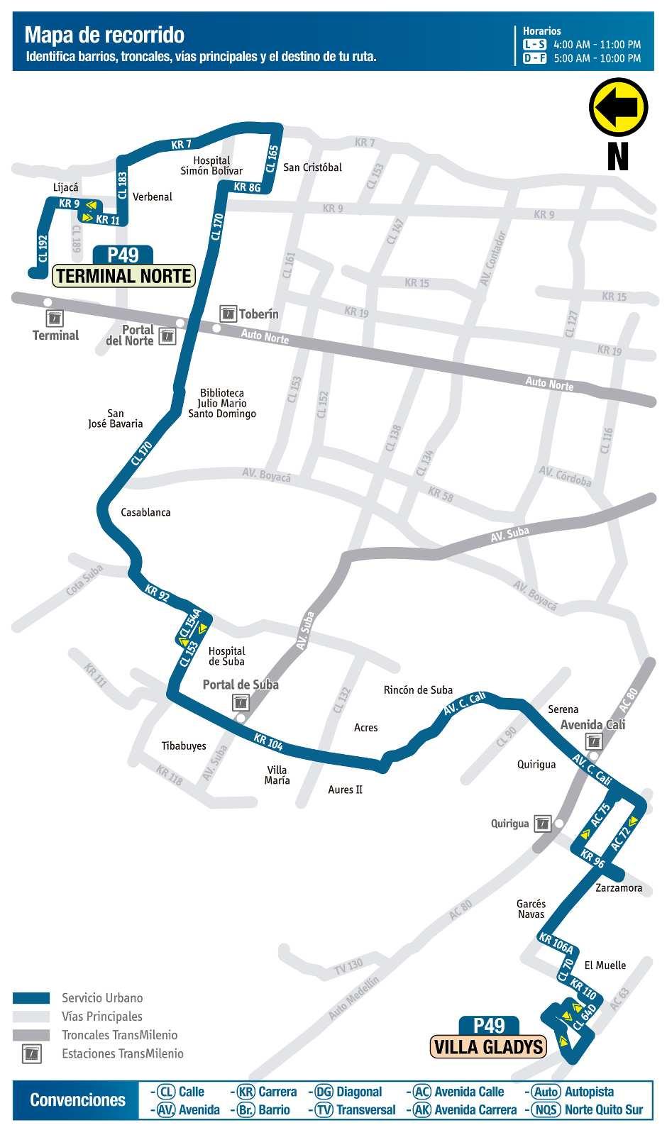 Ruta SITP: P49 Terminal Norte ↔ Villa Gladys (mapa)