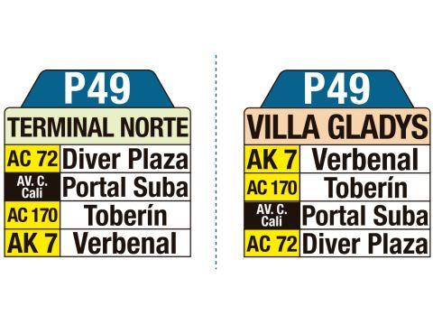 Ruta SITP: P49 Terminal Norte ↔ Villa Gladys (tablas)
