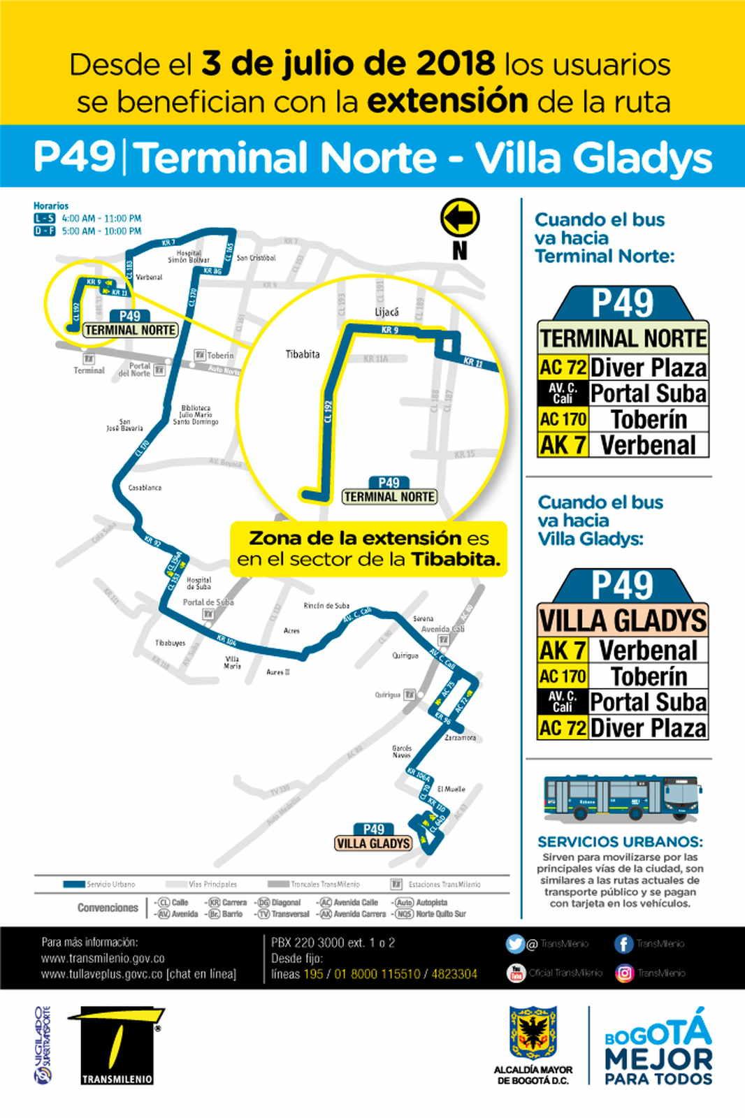 Volante ruta P49 Terminal Norte - Villa Gladys