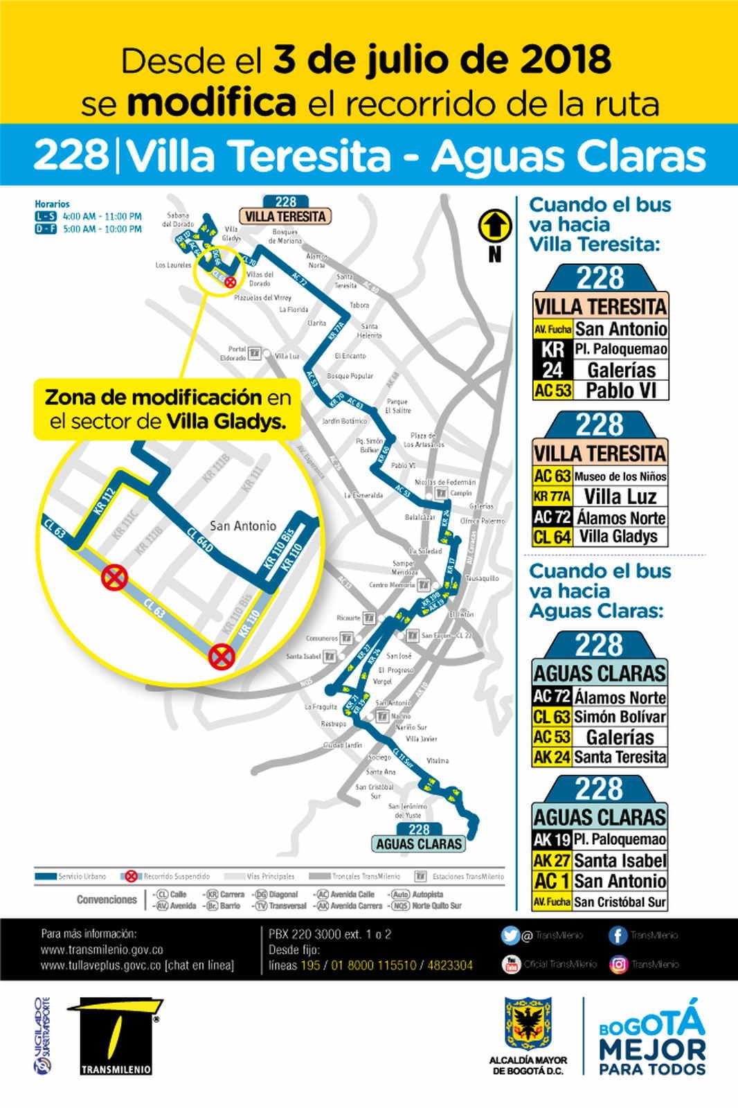 Volante informativo de los cambios temporales en la urbana en su recorrido: 228 Aguas Claras - Villa Teresita