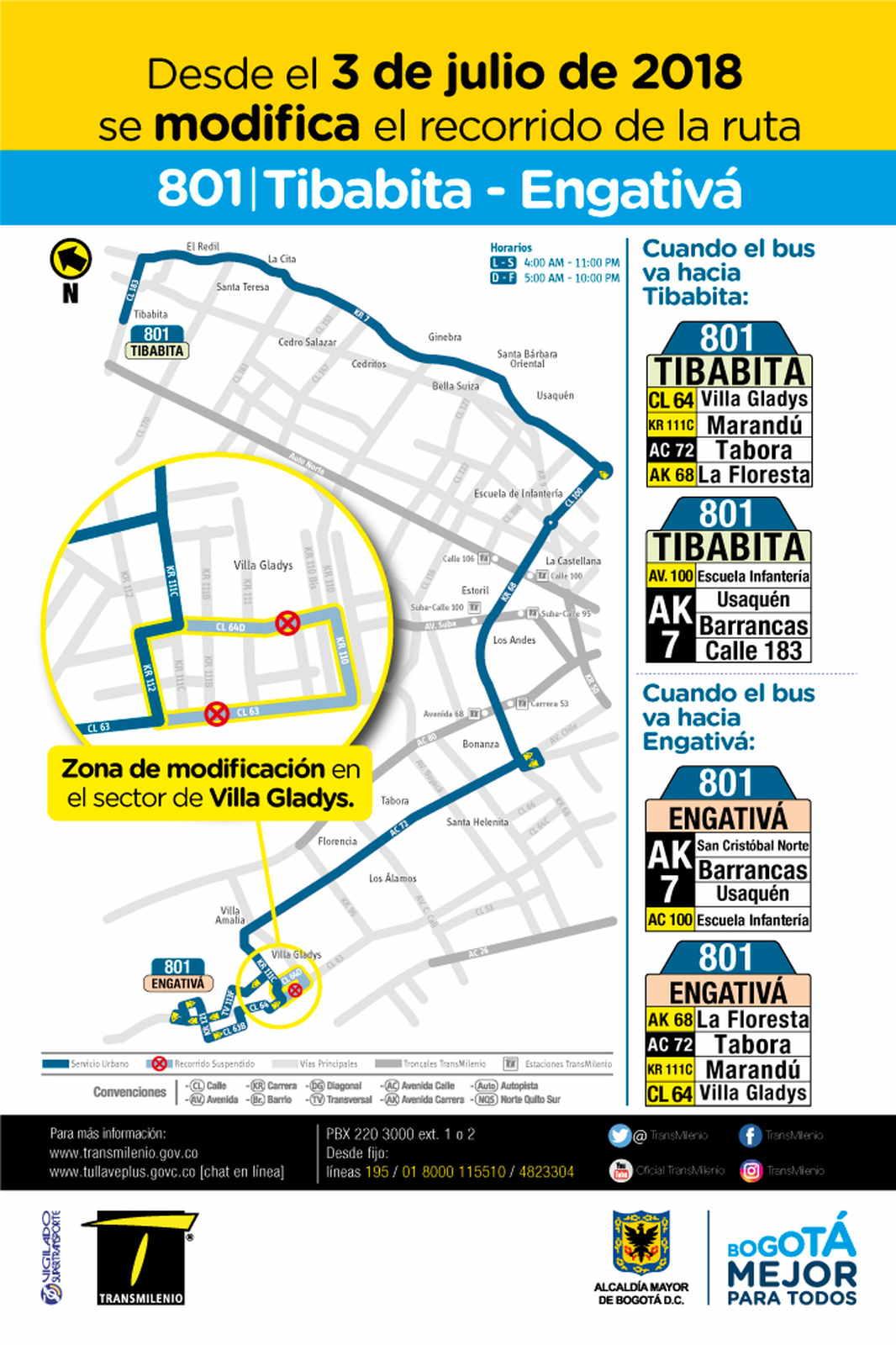 Volante informativo de los cambios temporales en la urbana en su recorrido: 801 Tibabita – Engativá