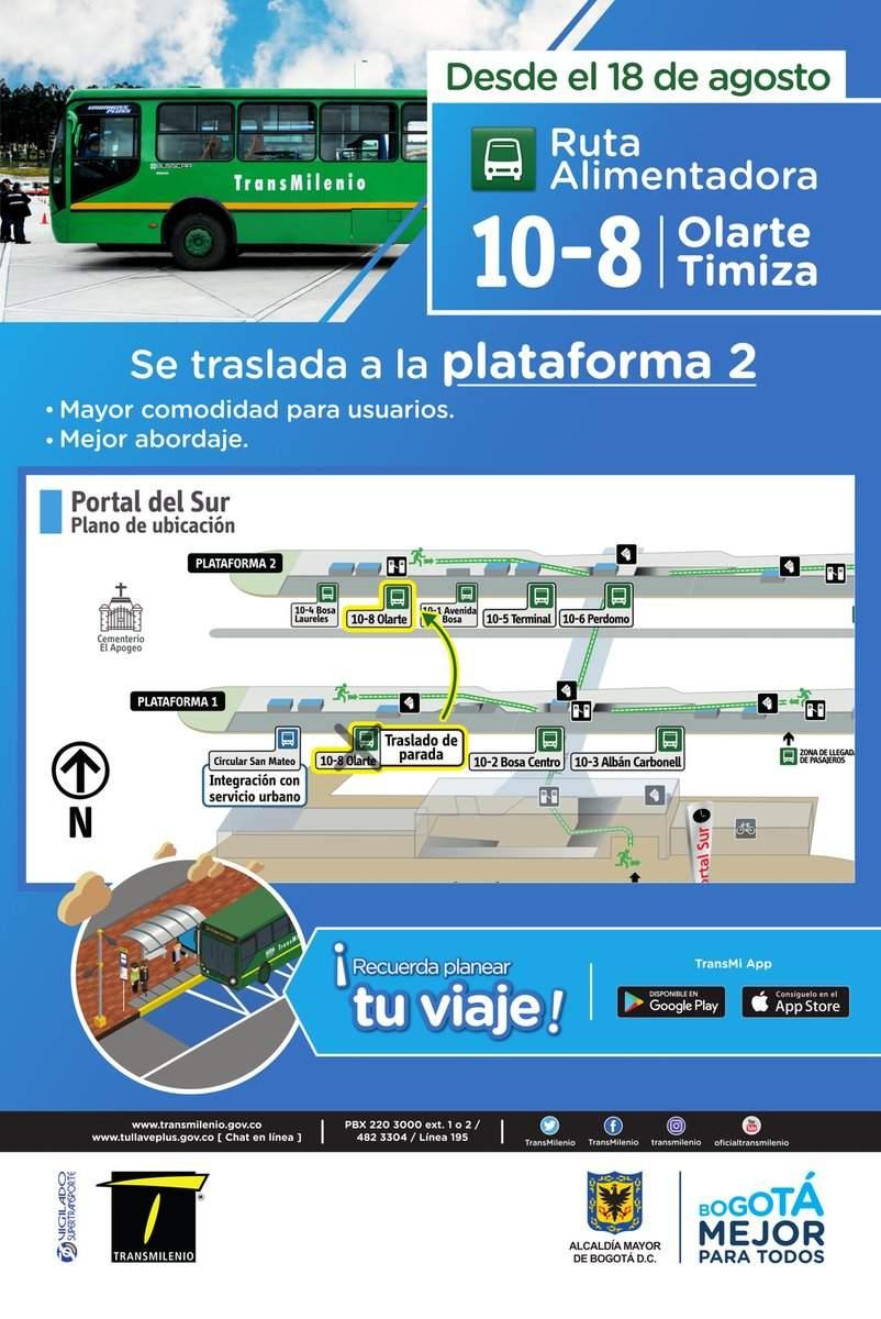 10-8 Bus alimentador - ubicación de parada en Portal Sur