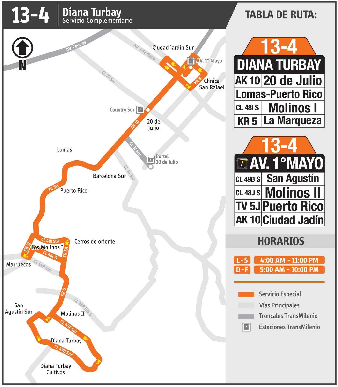 Ruta SITP: 13-4 Diana Turbay – Lomas (mapa)