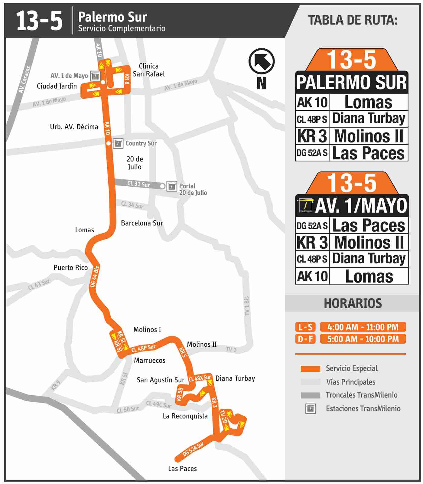 Ruta SITP: 13-5 → Palermo Sur – Avenida 1 Mayo (mapa)