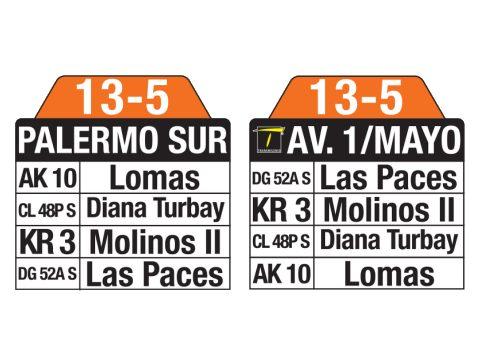 Ruta SITP: 13-5 → Palermo Sur – Avenida 1 Mayo (tablas)