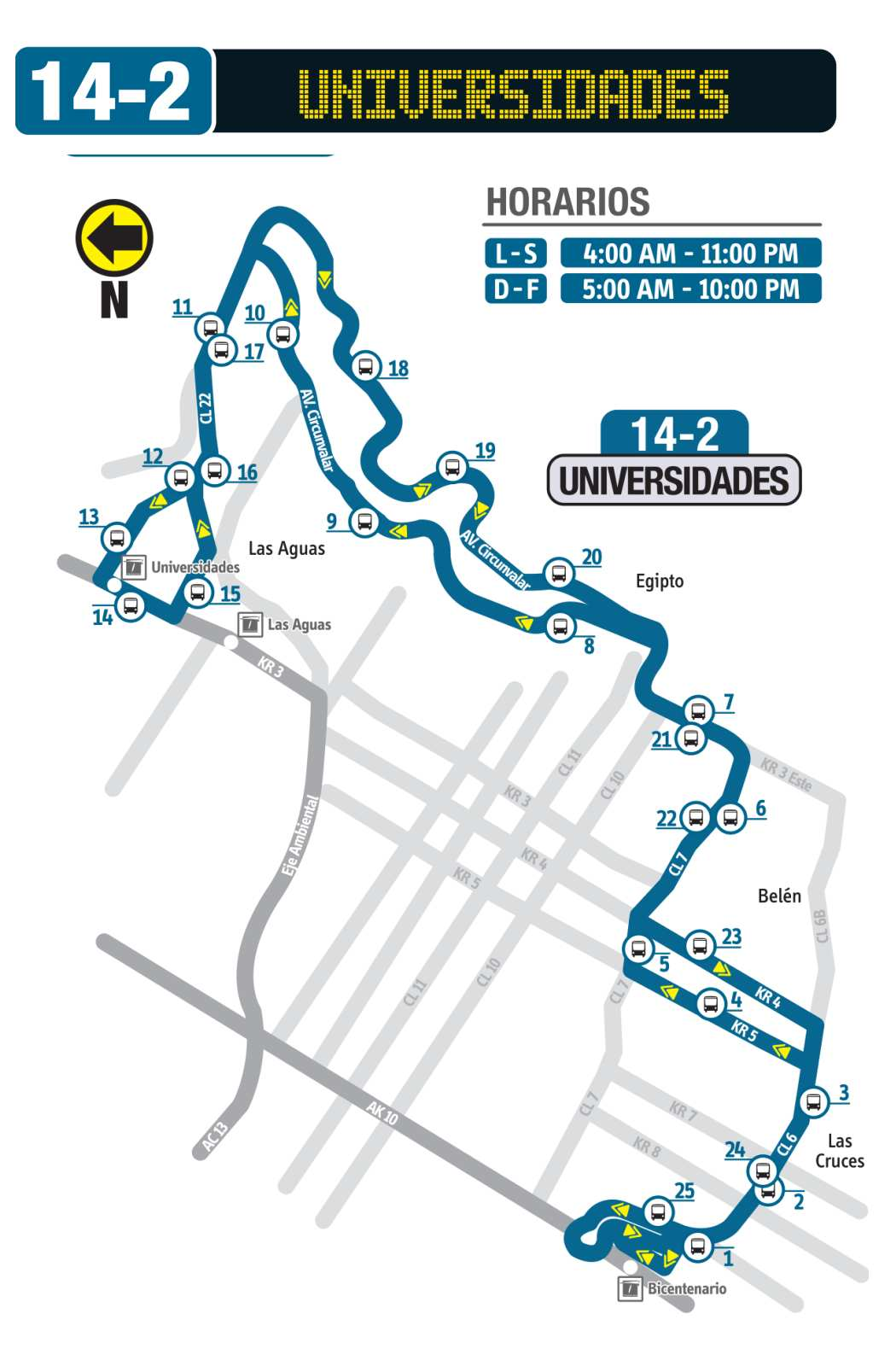 Mapa ruta urbana: 14-2 Universidades