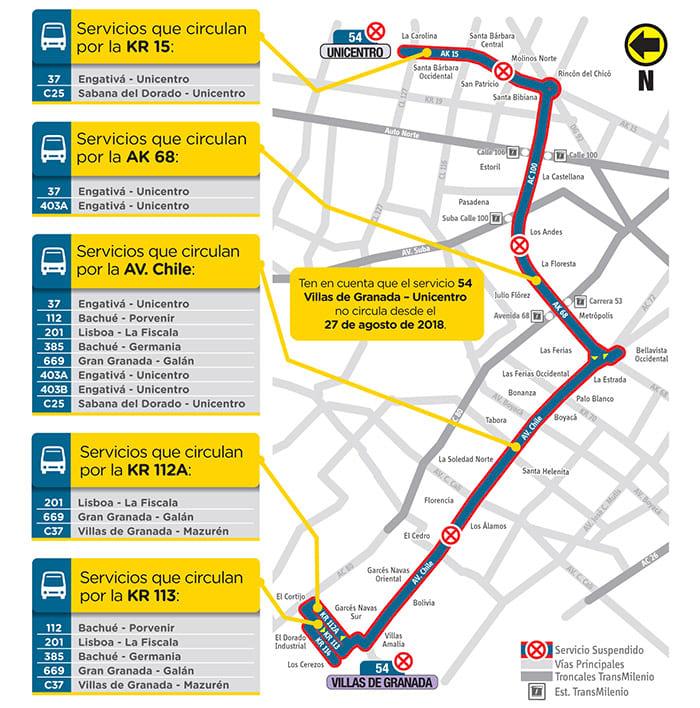 Alternativas a la ruta urbana 54 del SITP
