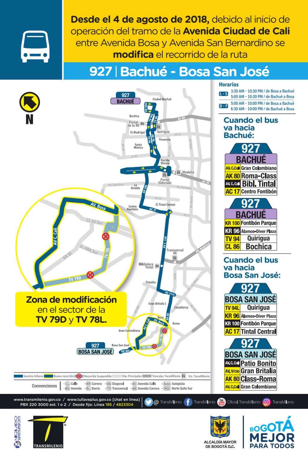 927 mapa bus urbano desde el 4 de agosto 2018