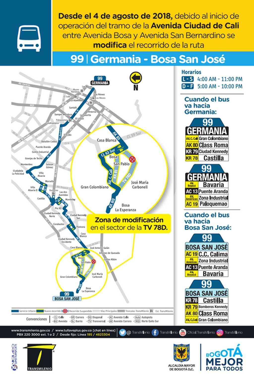 Mapa ruta urbana 99 - ingresará a la Avenida Cali desde el 4 de agosto