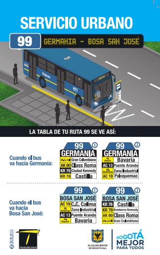 Volante ruta urbana 99 - ingresará a la Avenida Cali desde el 4 de agosto