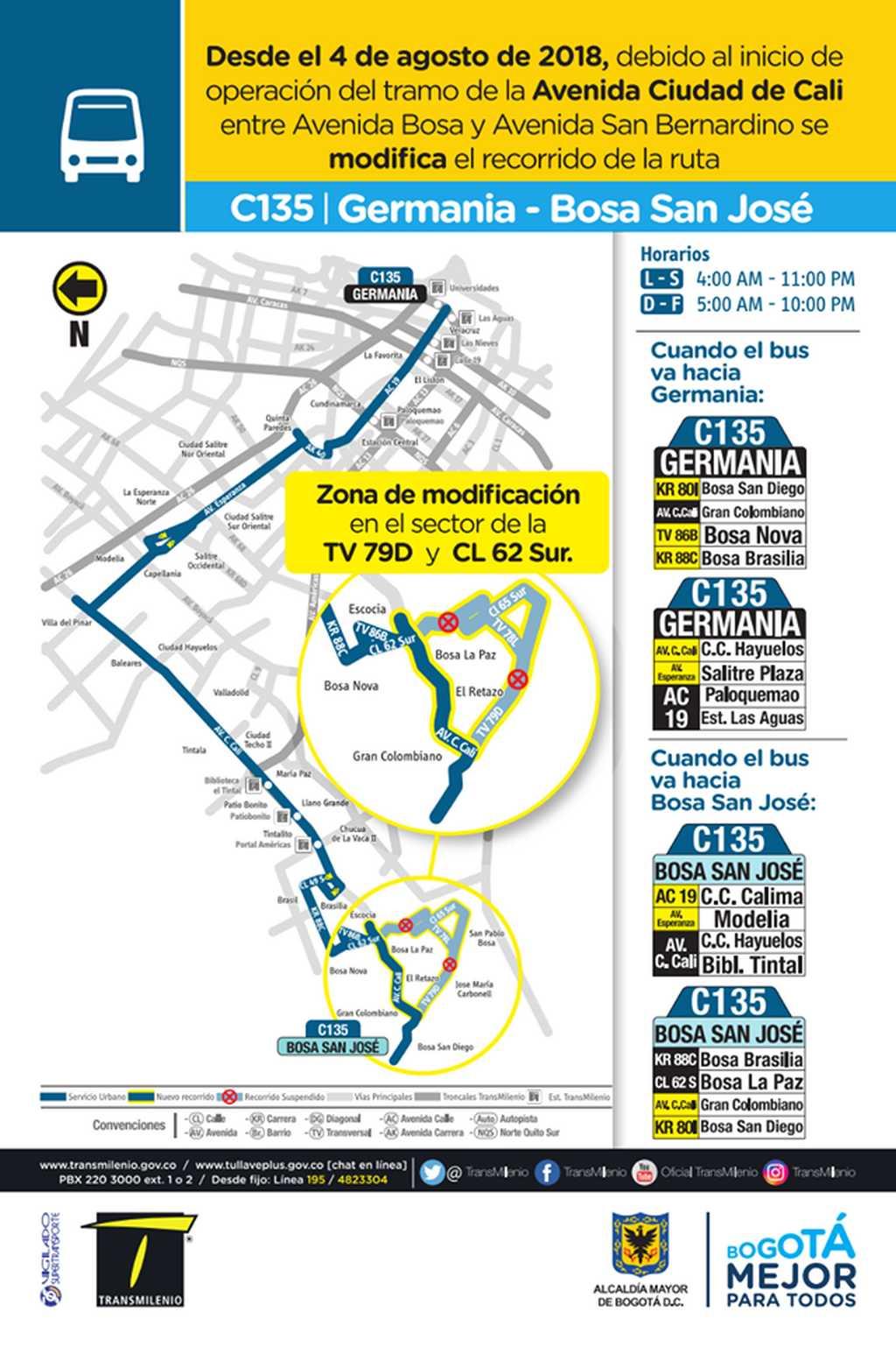 Mapa ruta urbana C135 desde el 4 de agosto