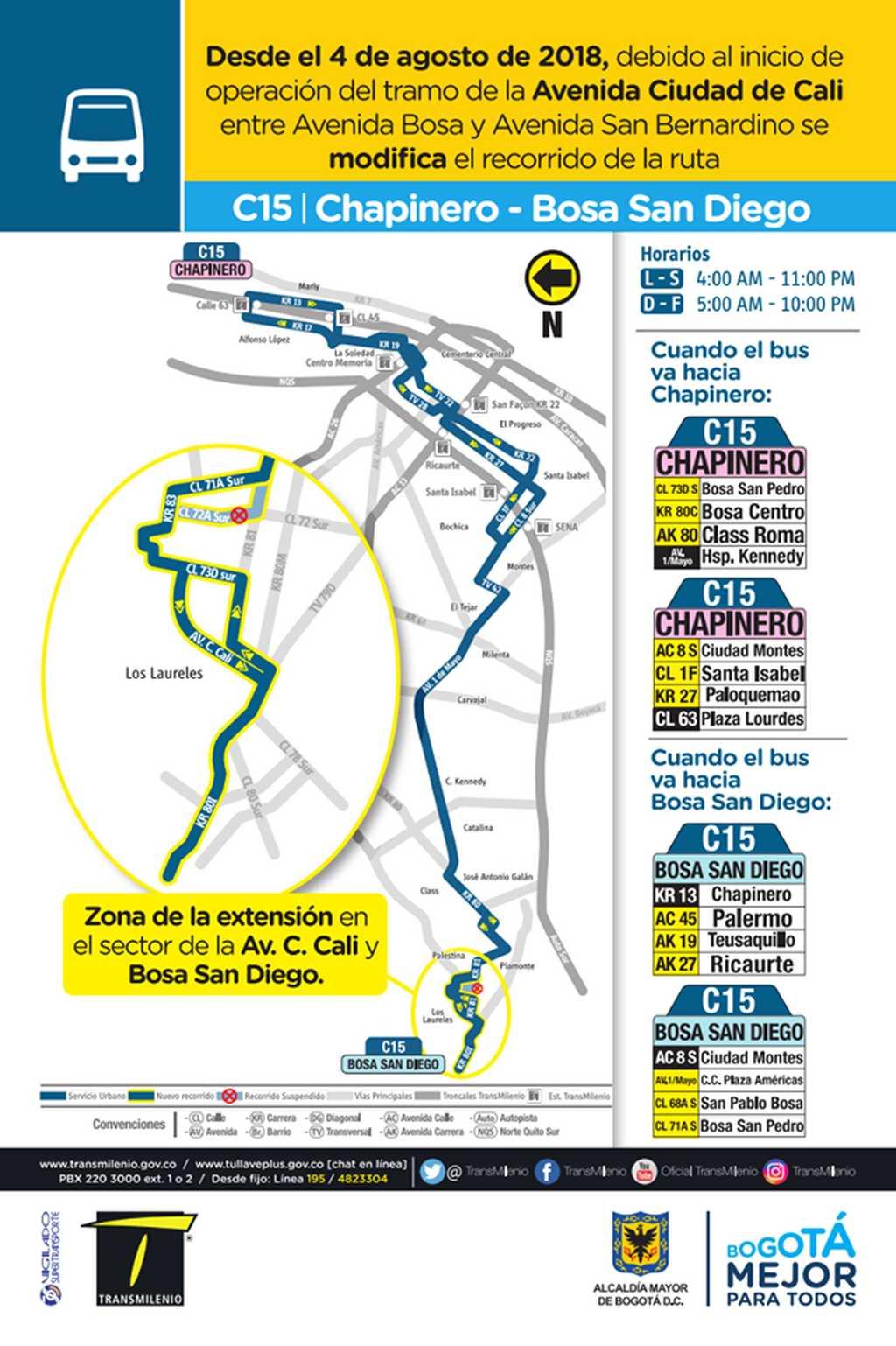 Mapa ruta urbana C15 desde el 4 de agosto de 2018