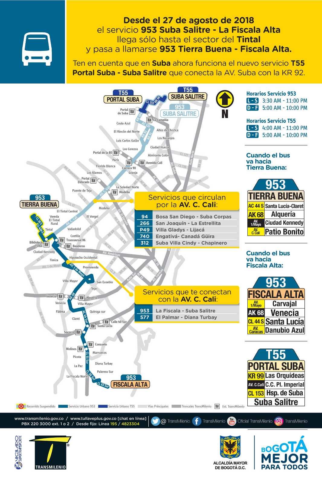 Mapa ruta 953 desde agosto 2018
