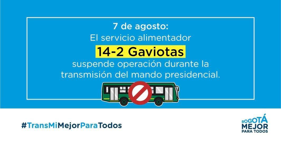 Suspendión temporal del alimentador 14-2 Gaviotas