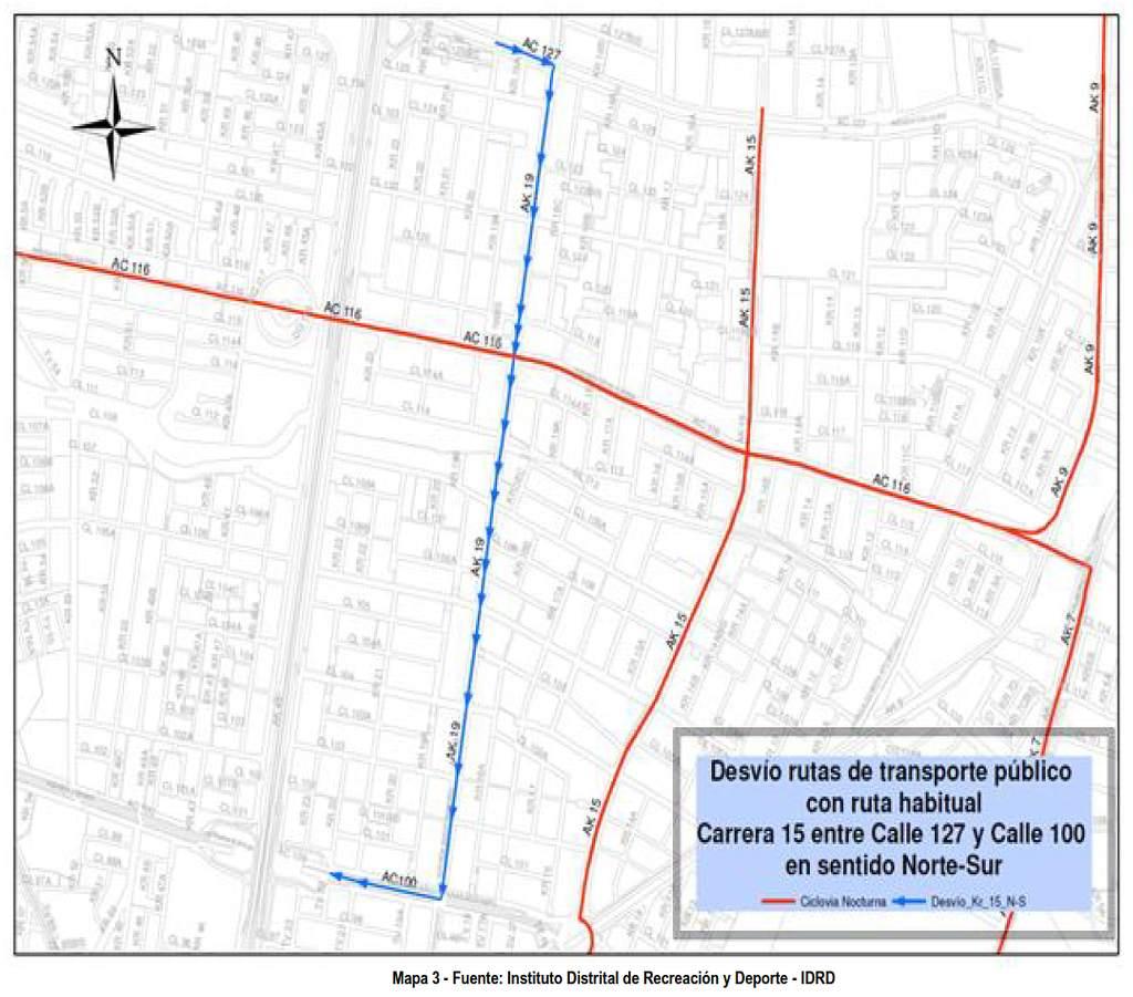 Desvíos Ciclovía Nocturna 2018 - mapa 003 (cortesía IDRD)