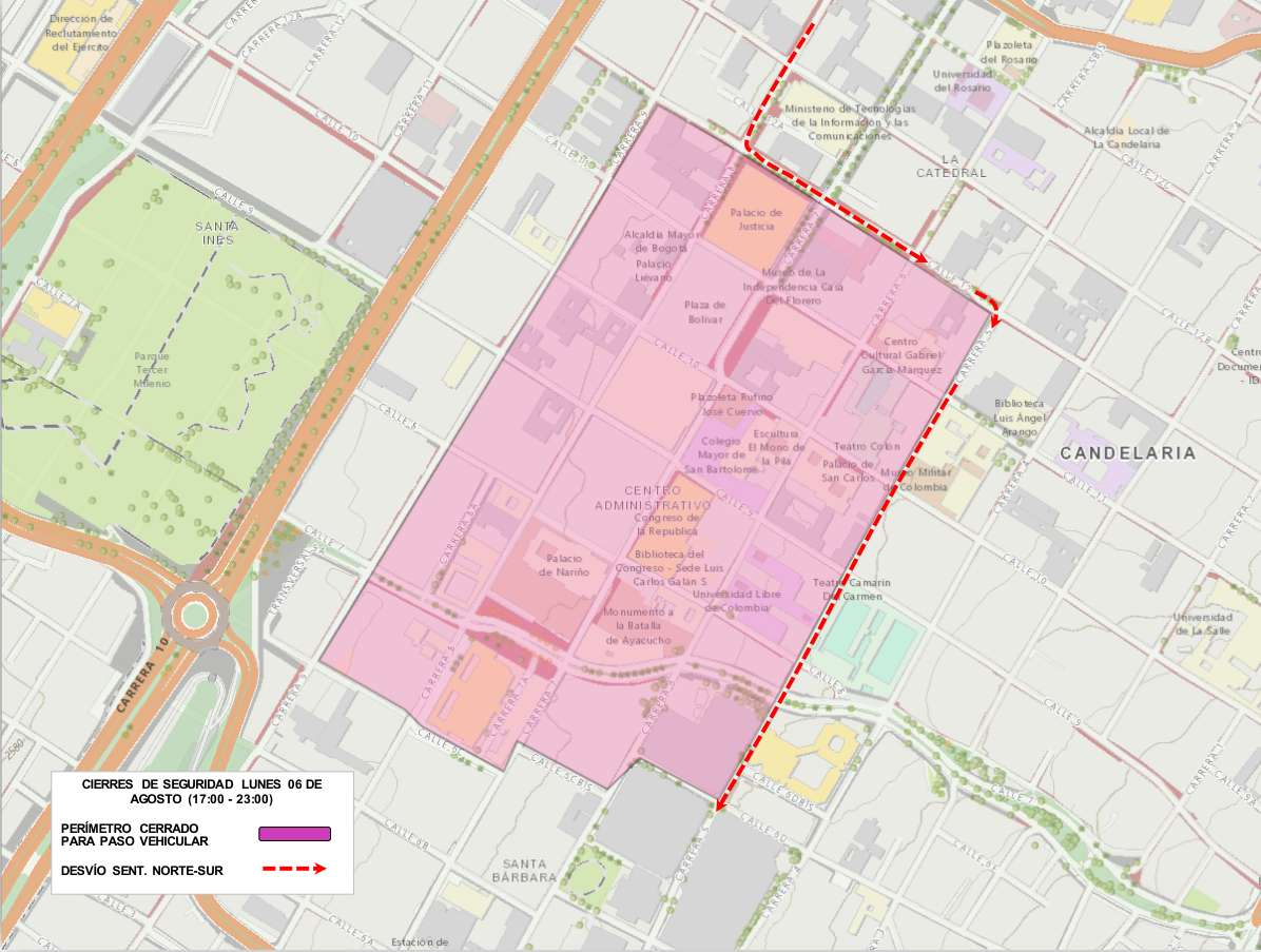 Cierres viales desvíos por Transmisión Del Mando Presidencial (mapa 001)