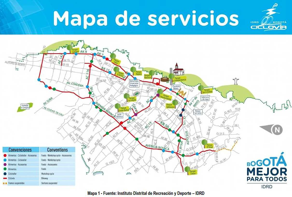Mapa de Servicios de la Ciclovía Nocturna 2018 (cortesía IDRD)