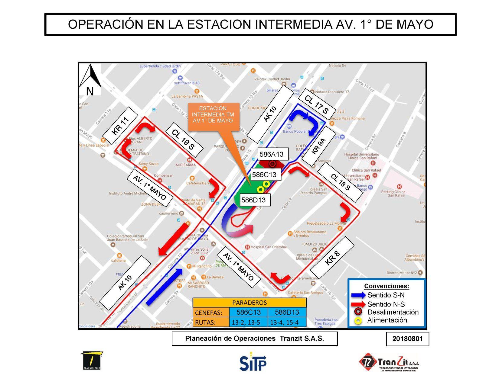 Sentido de circulación de algunas rutas en la estación Avenida 1° de Mayo