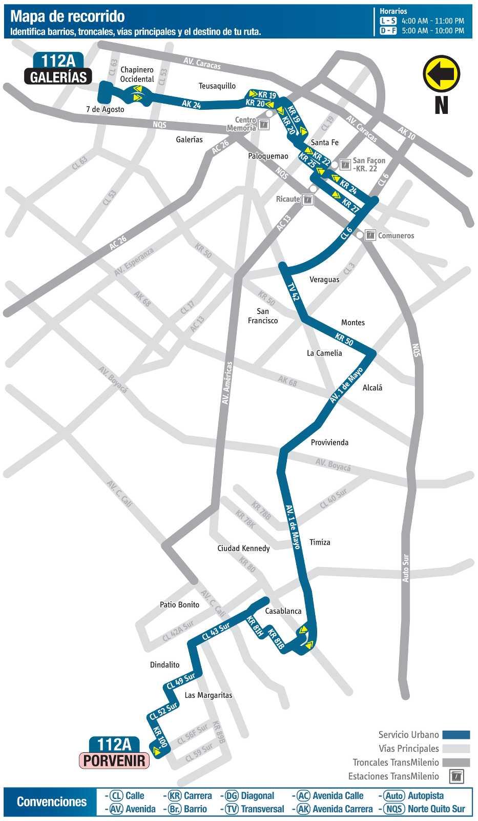 Ruta SITP: 112A > Galerías ↔ Porvernir (mapa)