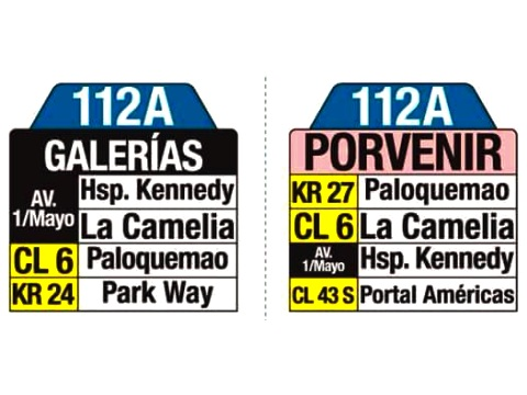 Ruta SITP: 112A > Galerías ↔ Porvernir (tablas)