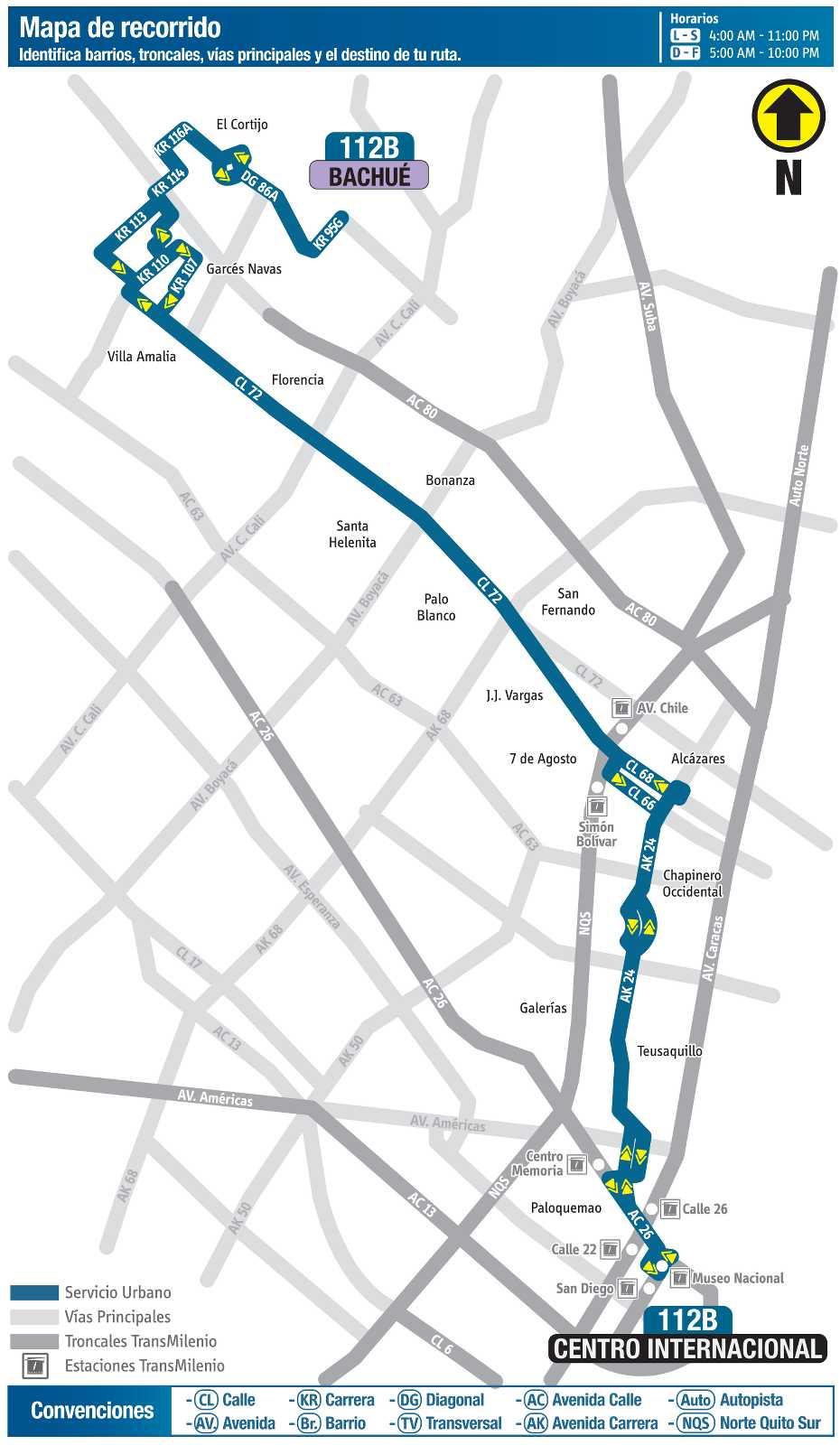 112B Bachué - Centro Internacional (mapa)
