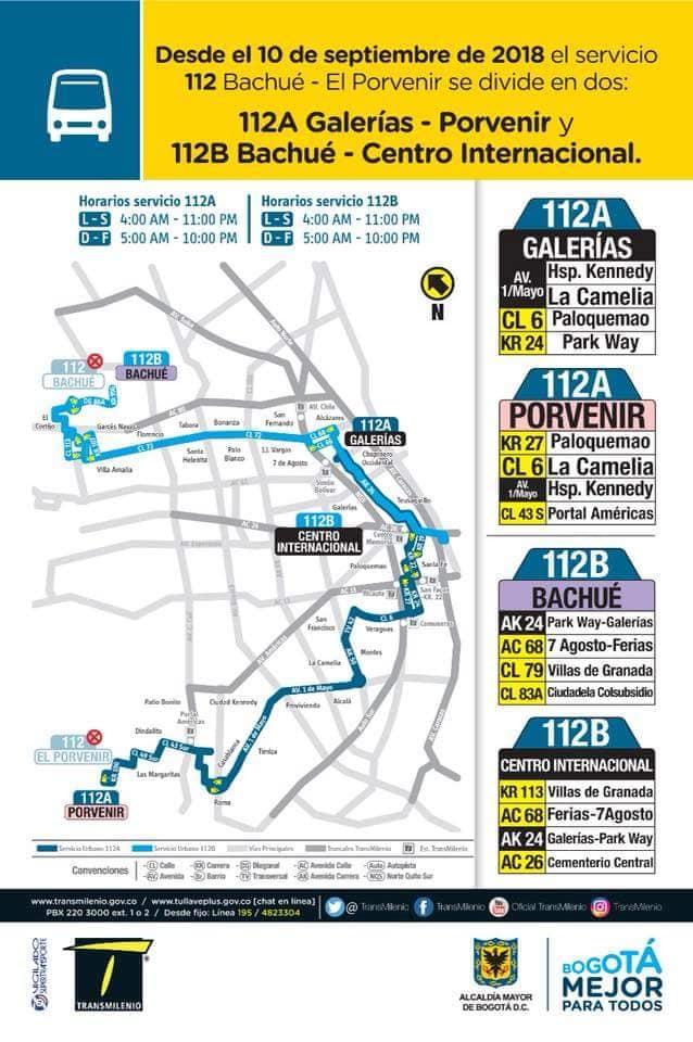 División de la ruta urbana 112