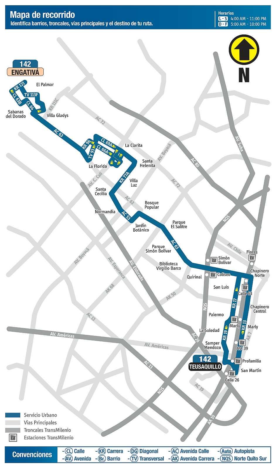 Ruta urbana 142 > Engativá - Teusaquillo (mapa desde septiembre 2018)