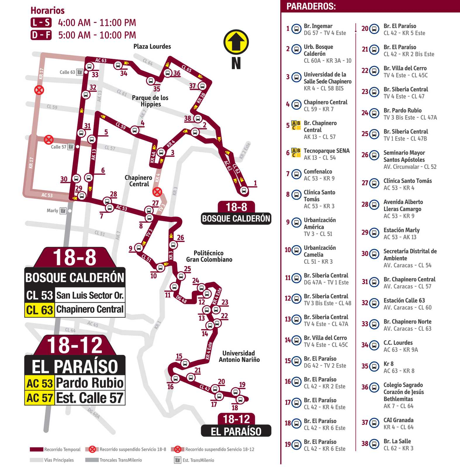 Mapa rutas 18-8 y 18-12 fusionadas