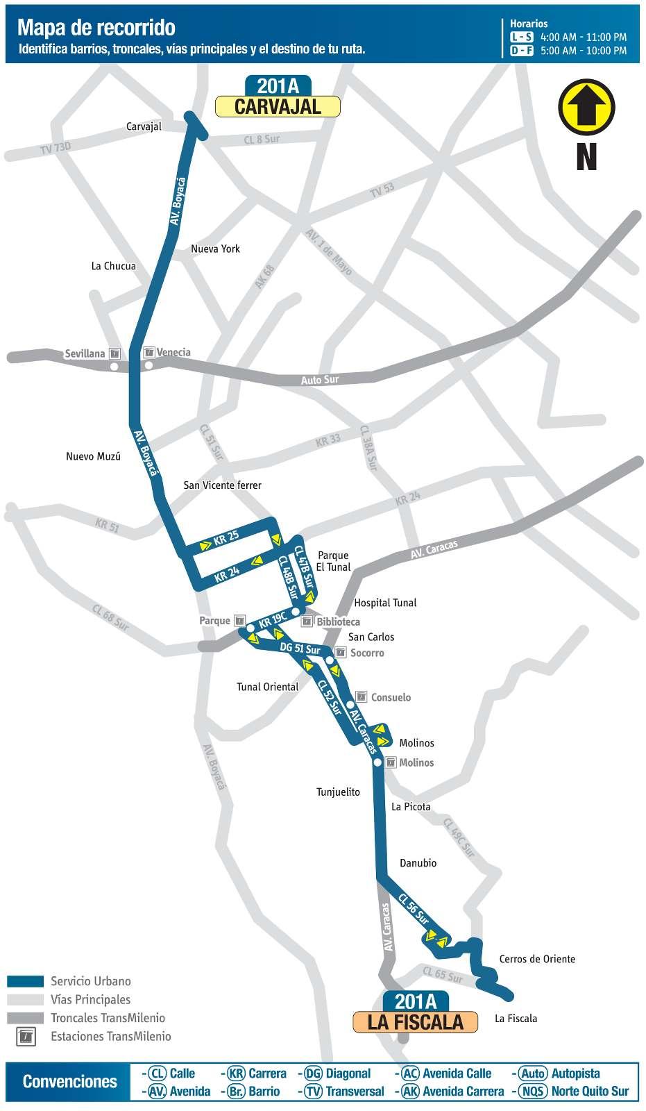 Ruta SITP: 201A Carvajal ↔ La Fiscala (mapa)